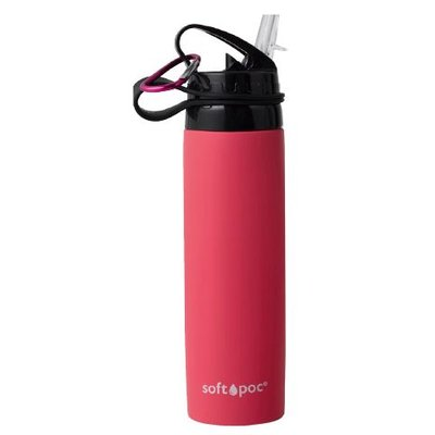 softpoc Faltbare Trinkflasche, rot-pink, Silikon, 0,6 Liter